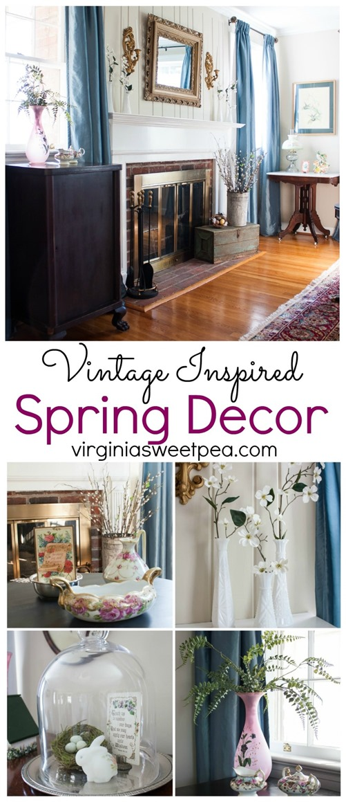 Tour a home decorated for spring using mostly vintage items. virginiasweetpea.com #springdecorating #vintagedecor #hometour #springhometour #styledforspring #vintagedecor
