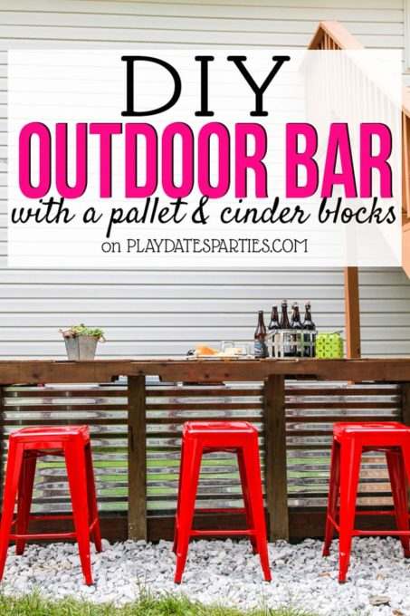 DIY Outdoor Bar Made from Pallets and Cinder Blocks - Best of the Weekend Feature for May 18, 2018