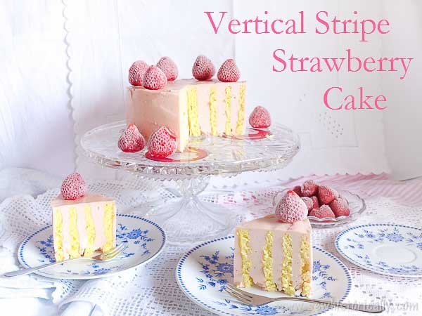 Vertical Stripe Cake with Strawberry Buttercream - Best of the Weekend Feature for May 4, 2018