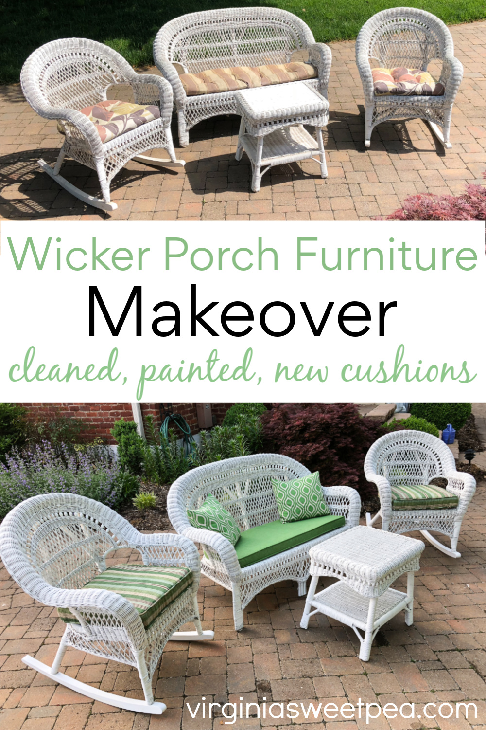 Wicker Porch Furniture Makeover - A set of wicker porch furniture gets a makeover with a good cleaning, fresh paint, and new cushions. See how easy it is to give wicker furniture a fresh look. #wickerfurnituremakeover #wickerporchfurnituremakeover #wickerporchfurniture via @spaula