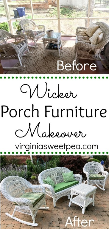 Wicker Porch Furniture Makeover - Learn how to clean and paint a worn wicker set to give it a new life and to make it ready to be used for years to come. #wickerporchfurniture #wickermakeover #porchfurnituremakeover