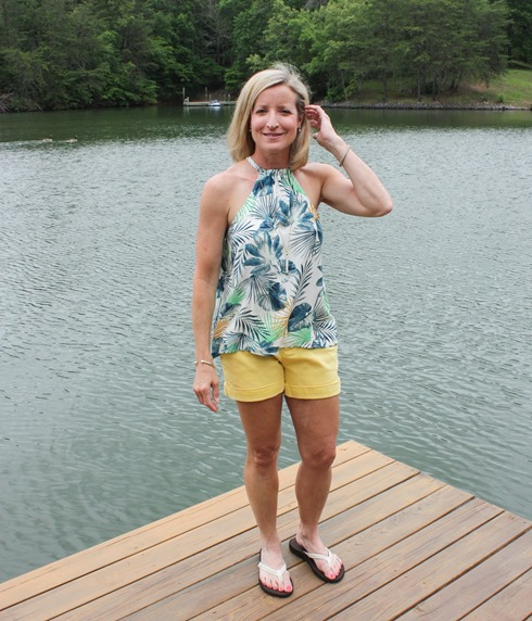 Stitch Fix Review for June 2018 - Crescent Madee Halter Top with Dear John Finnegan Cuffed Short #stitchfix #stitchfixsummer #stitchfixstyle #fashionover40