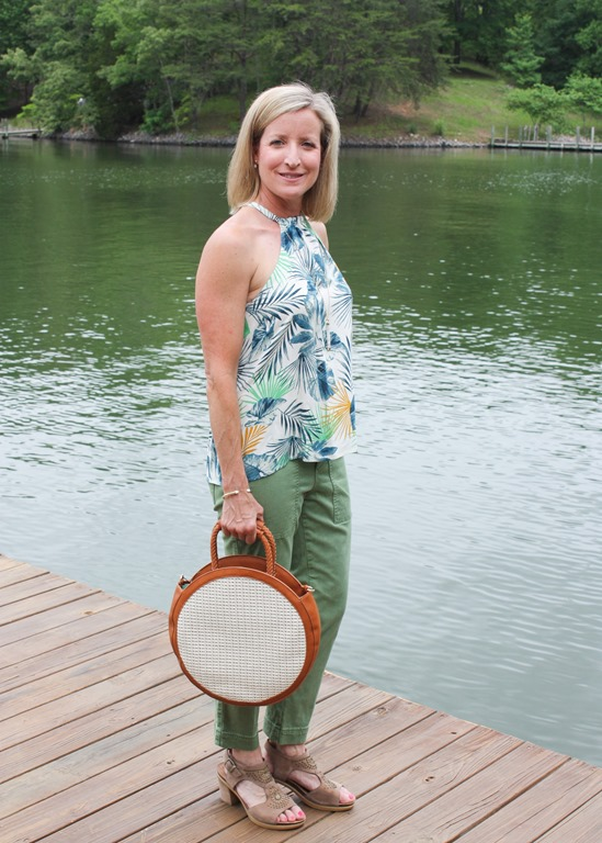 Stitch Fix Review for June 2018 - Sole Society Handbags - Nikole Circle Crossbody worn with Crescent Madee Halter Top and Lila Ryan Kati Chino Cargo Straight Leg Pant. #stitchfix #stitchfixsummer #stitchfixstyle #summerfashion #fashionover40