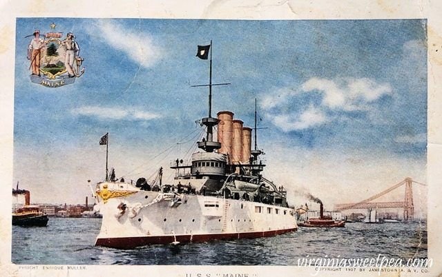 1907 Jamestown Exposition Postcard - USS Maine - #jametown #jamestownexposition #1907 #antiquepostcard #ussmaine