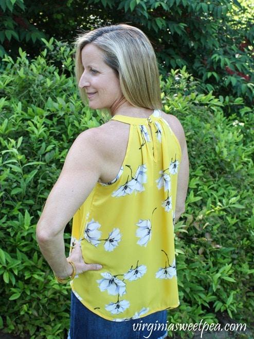Stitch Fix Review for July 2018 - Papermoon Bonney Keyhole Halter Blouse worn with Just Black Tatiana Denim Skirt #stitchfix #stitchfixsummer #summerfashion #fashionover40