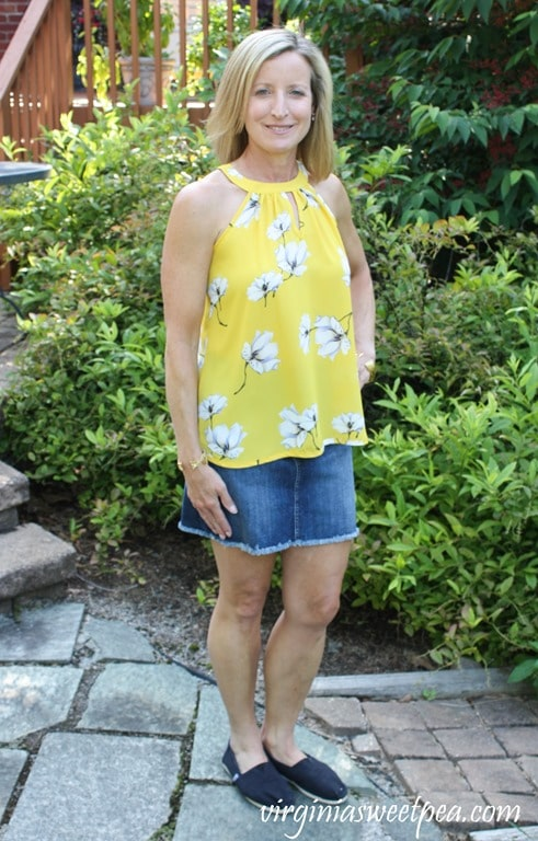 Stitch Fix Review for July 2018 - Papermoon Bonney Keyhole Halter Blouse worn with Just Black Tatiana Denim Skirt #stitchfix #stitchfixsummer #summerfashion #fashionover40