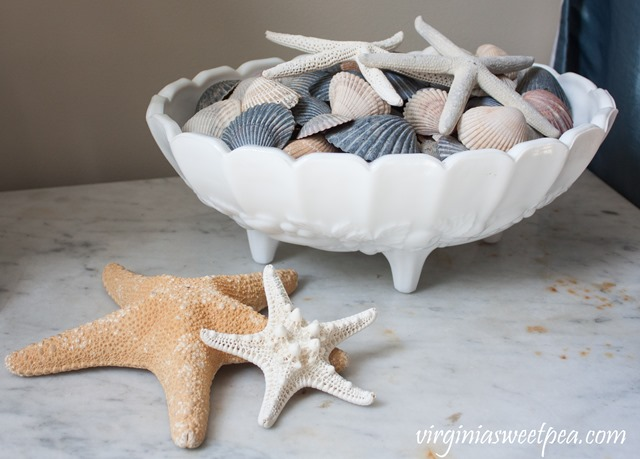 Shells in a milk glass compote