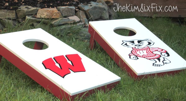 DIY University of Wisconsin Cornhole Game - Learn how to make a set using cabinet doors! #cornhole #woodworking #universityofwisconsin #badgers