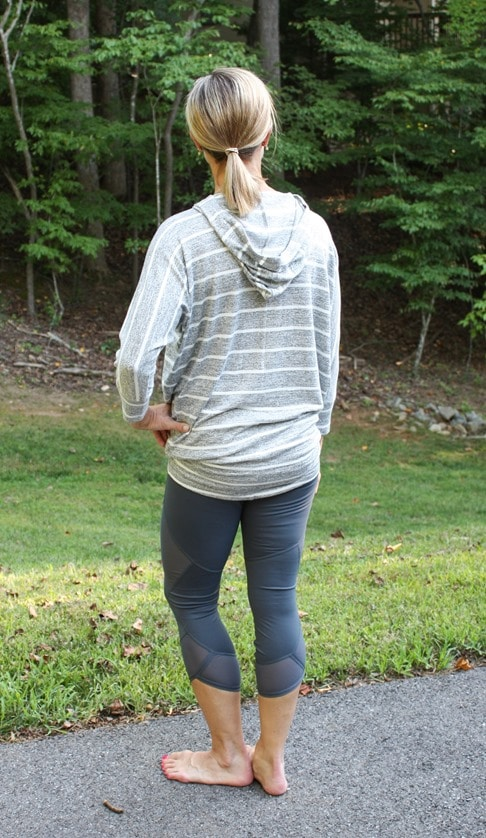 Stitch Fix Review for August 2018 - 41 Hawthorn Karlotta Hooded Dolman Knit Top-Back View #stitchfix #stitchfixreview #stitchfixathleisure #athleisure #fashionover40