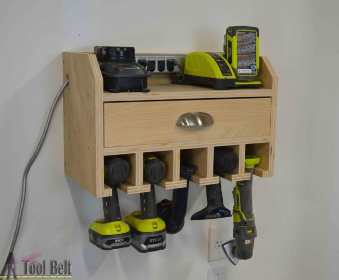 DIY Cordless Drill Organizer with Charging Station - Get the plans to make this for your garage or workshop. #woodworking #diydrillstorage #diydrillchargingstation #diyproject