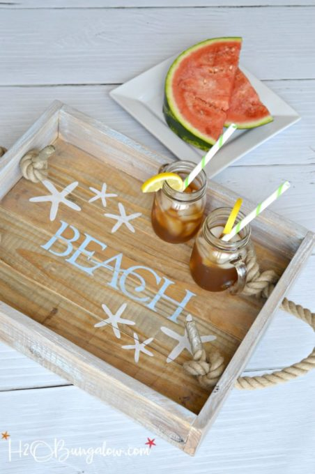 DIY Coastal Rope Handle Tray Tutorial - Best of the Best Coastal DIY Decor Round-up. Get over a dozen coastal project decor ideas that you can make for your home. #coastal #coastaldecor #coastaldiy