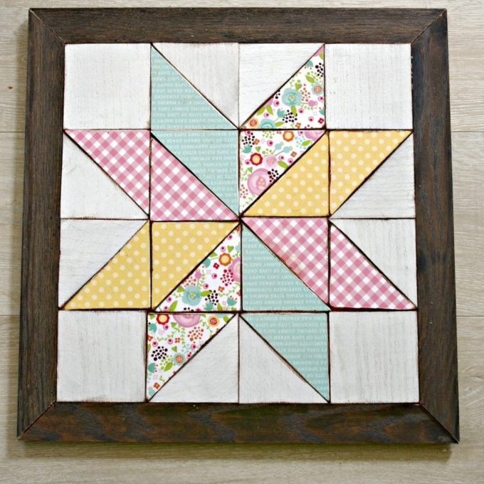 Wooden Quilt Square Wall Art - Learn how to make this project by following the step-by-step tutorial. #woodworking #quilt #diyproject