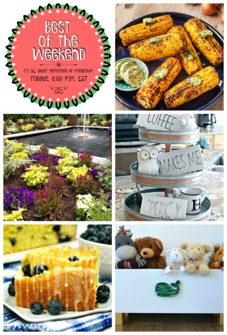 Best of the Weekend Features for August 17, 2018 - Barbecued Corn on the Cob with Shallot Herb Butter I A Tour of Longwood Gardens I Rae Dunn Copycat Coffee Bar Signs I Blueberry Sweet Rolls with Lemon Glaze I How to Build a Toy Box Using a Wine Crate