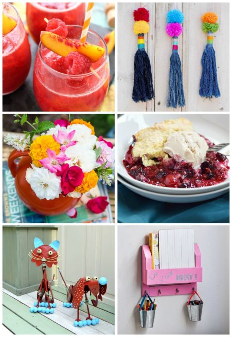 Best of the Weekend Features for August 3, 2018 I Peach Bellini I DIY Upcycled Denim Tassels I Easy Summer Flower Arrangement I Very Berry Cobbler Recipe I Whimsical Garden Decor I DIY Desk Organizer