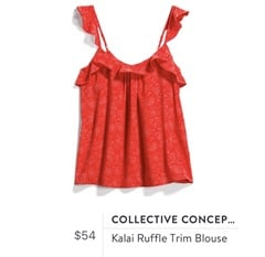Collective Concepts Kalai Ruffle Trim Blouse