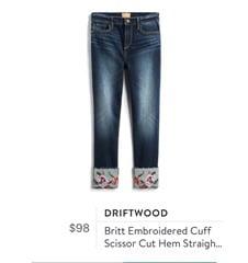 Driftwood Britt Embroidered Cuff Scissor Cut Hem Straight Leg Jean