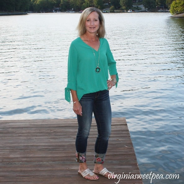 Stitch Fix Review for September 2018 - West Kei Allan Tie Sleeve Blouse with Driftwood Britt Embroidered Cuff Scissor Cut Hem Straight Leg Jean #stitchfix #stitchfixreview #fashionover40