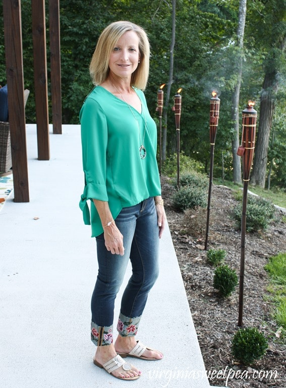 with Driftwood Britt Embroidered Cuff Scissor Cut Hem Straight Leg Jean #stitchfix #stitchfixreview #fashionover40