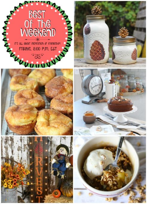 Best of the Weekend Features for September 14, 2018 - Pine Cone Mason Jars I Light and Airy Cinnamon Popovers I Fall Kitchen Tour I DIY Lighted Harvest Sign I Dark Chocolate Granola Apple Mug Cake