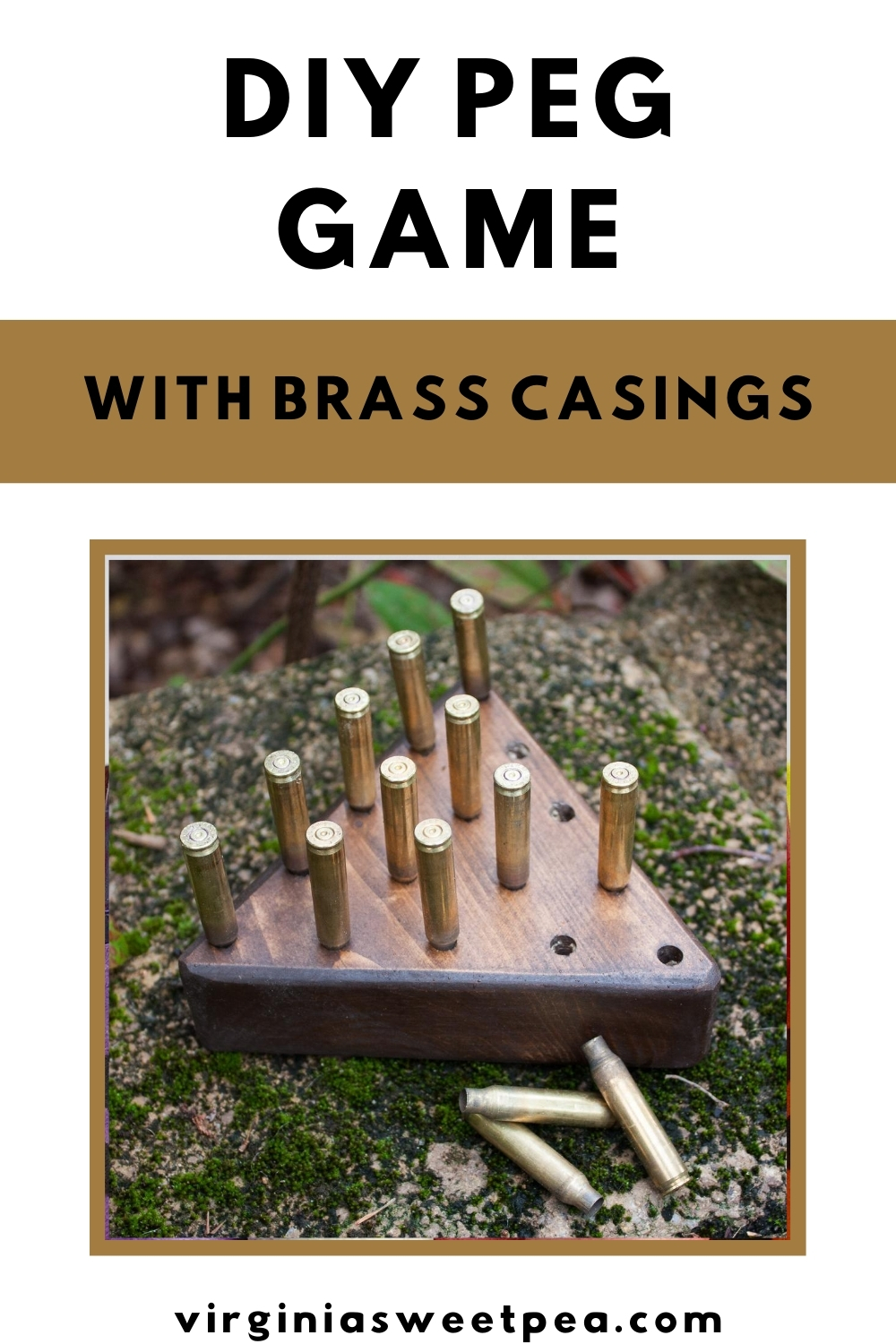 DIY Peg Game with Brass Casings - Learn how to make this game to play yourself or to give as a gift.  #diygift #groomsmangift #giftidea #handmadegift #mangift via @spaula