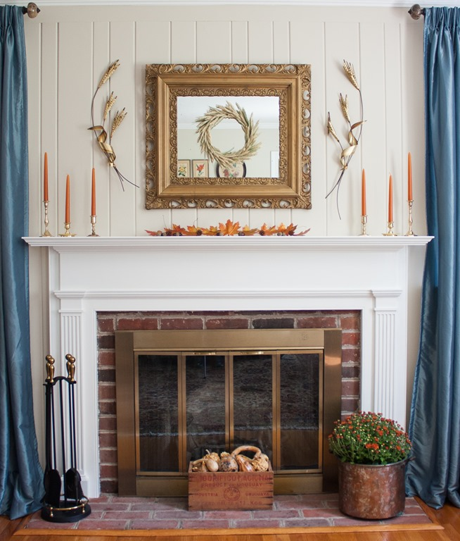Traditional Fall Mantel with Vintage Charm