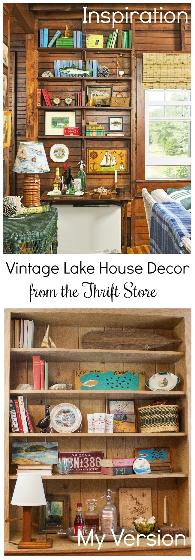 Vintage Lake House Decor from the Thrift Store - Learn how to shop thrift stores to get a desired look for less. #vintage #vintagedecor #thriftthelook