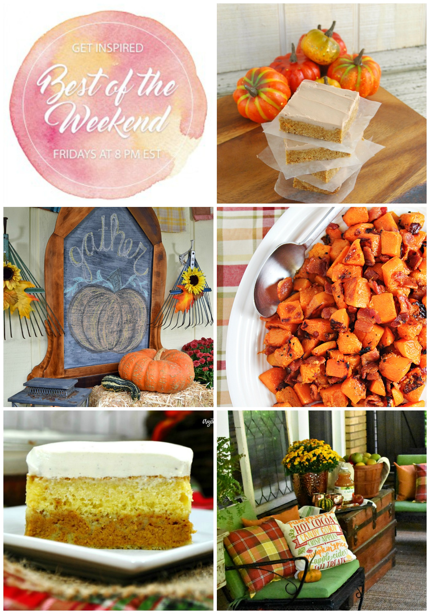 Best of the Weekend Features for October 19, 2018 - Pumpkin Spice Bars with Maple Bourbon Frosting I Fall Decorated Porch and Patio I Maple Glazed Roasted Butternut Squash with Bacon I Magical Layered Pumpkin Cake I Fall Decorated Porch