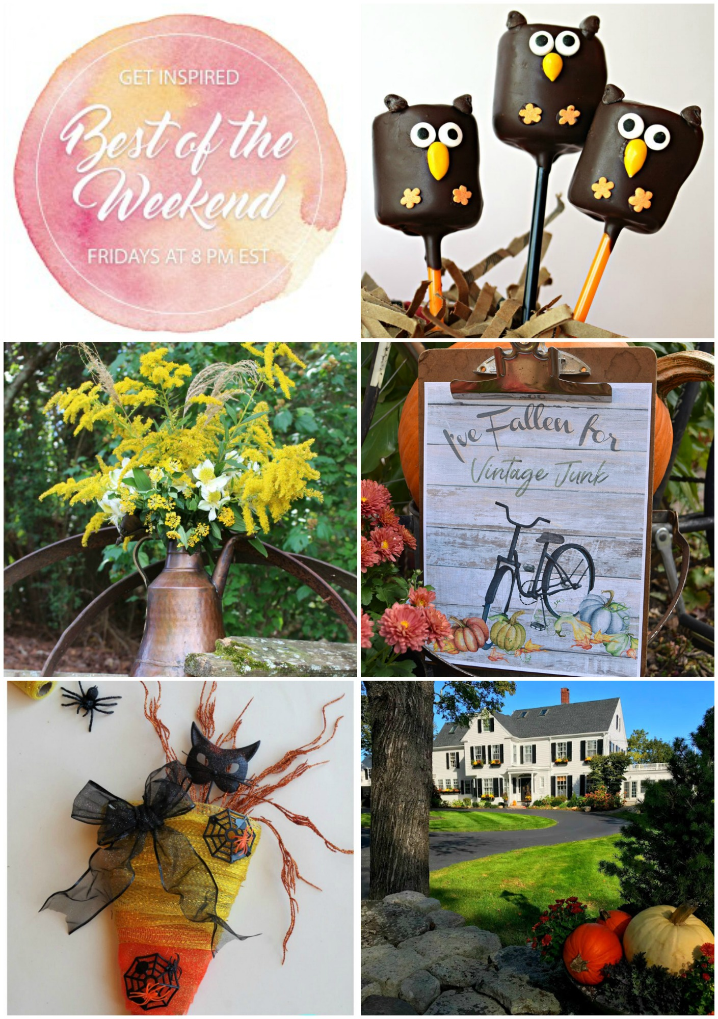 Best of the Weekend Party Features for October 26, 2018 - Owl Marshmallow Pops I Fall Floral Arrangement with Copper I Free Fall Printables I DIY Halloween Wreath I Fall Decor and Party Details