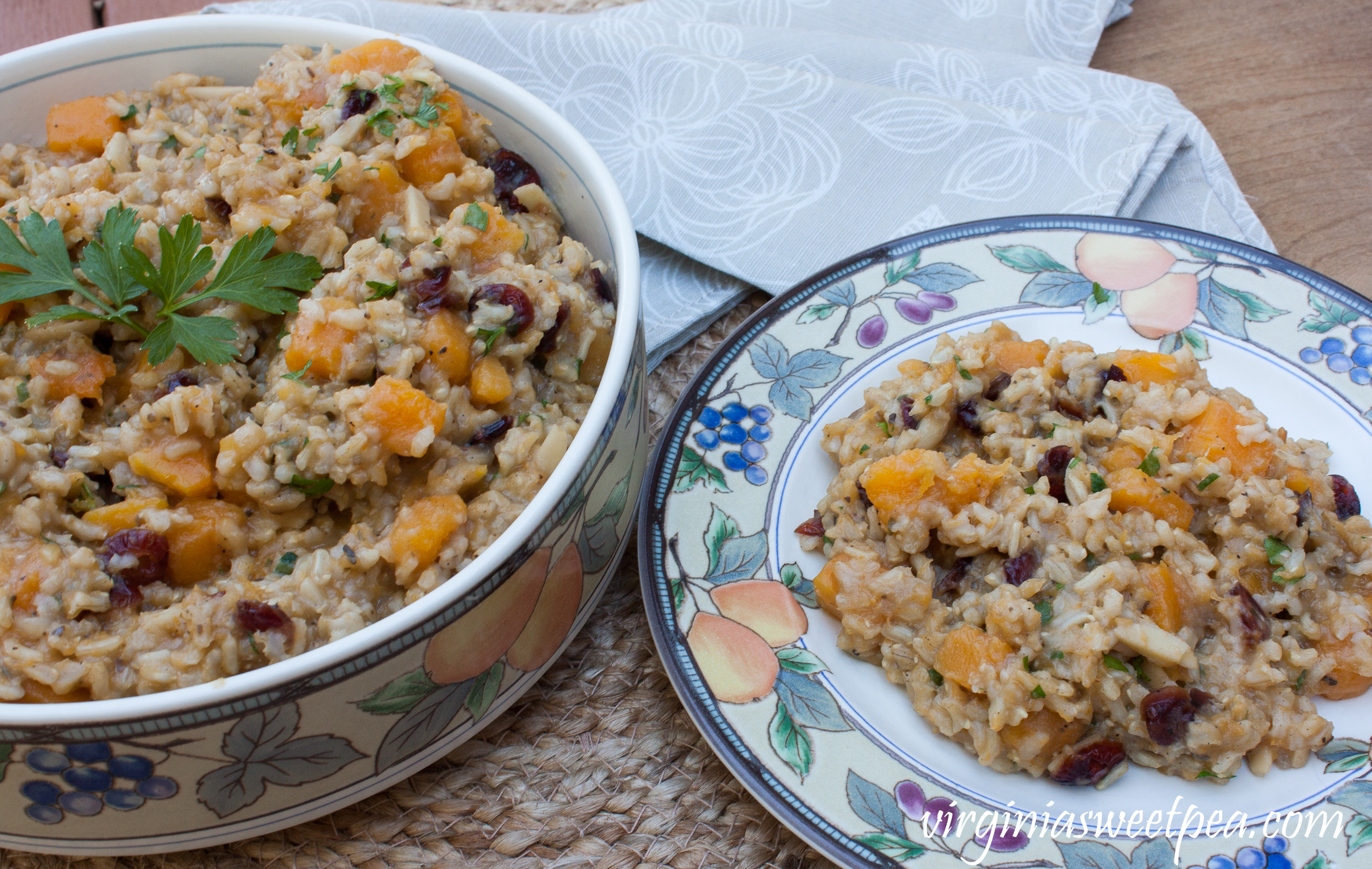 Butternut Squash Rice Pilaf - Butternut squash, almonds and dried cranberries mixed with brown rice cooked with garlic, onion, and spices makes a flavorful combination.