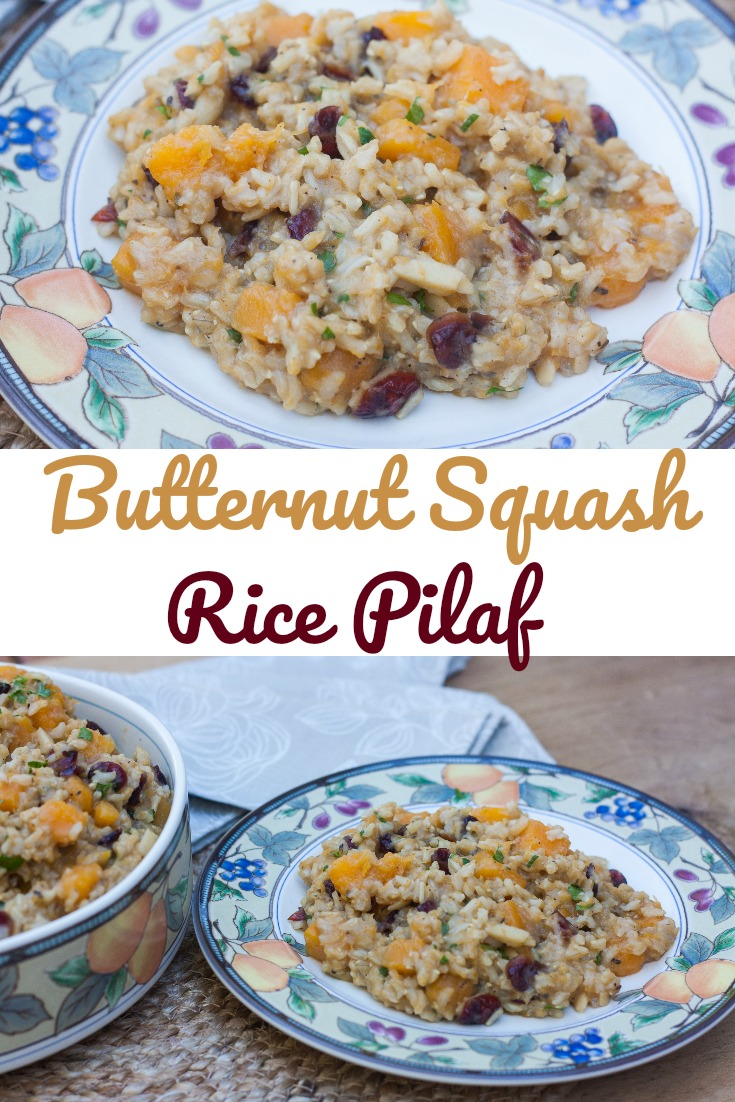 Butternut Squash Rice Pilaf - Butternut squash, almonds and dried cranberries mixed with brown rice cooked with garlic, onion, and spices makes a flavorful combination.  #sidedish #butternutsquash #rice #ricepilaf via @spaula