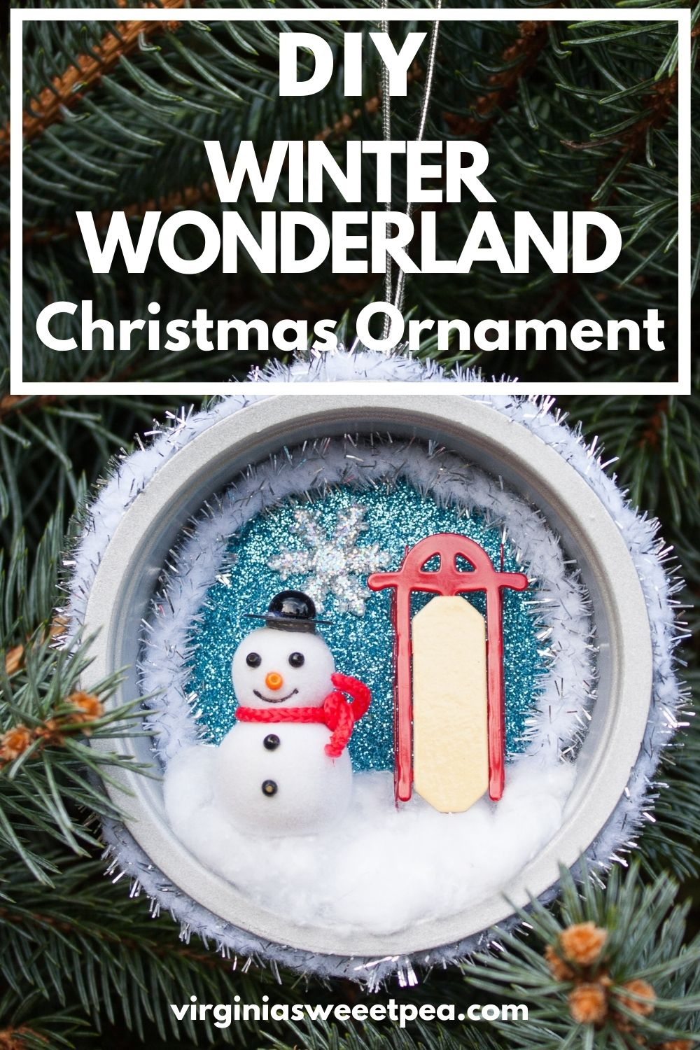 DIY Winter Wonderland Christmas Ornament - You'll never guess what was upcycled to make this pretty ornament! #christmas craft #handmadechristmas #decoratethetree #christmastreeornaments #christmastreeideas via @spaula
