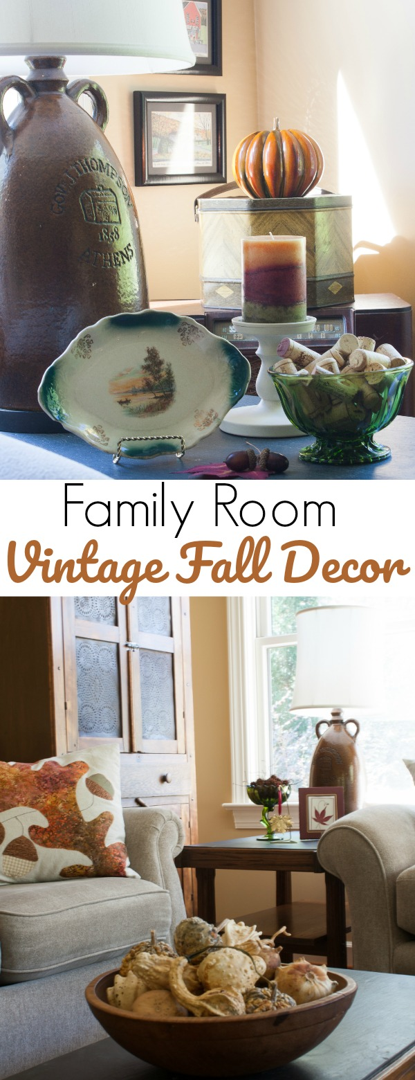 Family Room Vintage Fall Decor - A family room decorated for fall using inherited and thrifted fall items.  #fall #falldecor #vintage  #vintagedecor via @spaula