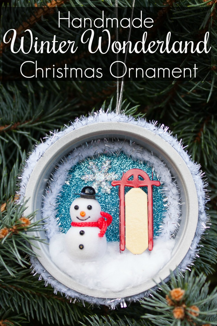 Handmade Winter Wonderland Christmas Ornament - You'll never guess what was upcycled to make this pretty ornament! #christmas craft #handmadechristmas #decoratethetree #christmastreeornaments #christmastreeideas