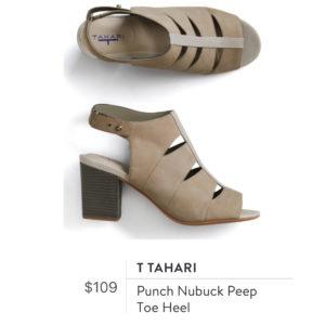 T Tahari Punch Nubuck Peep Toe Heel