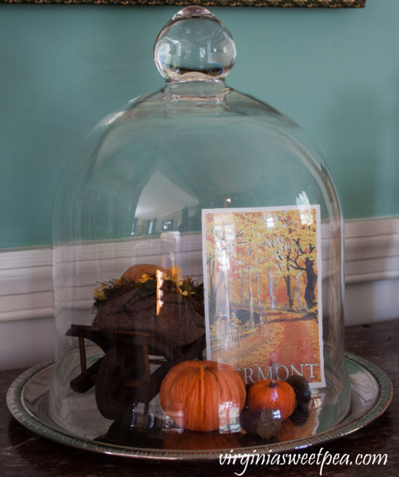 Fall cloche with Vermont postcard
