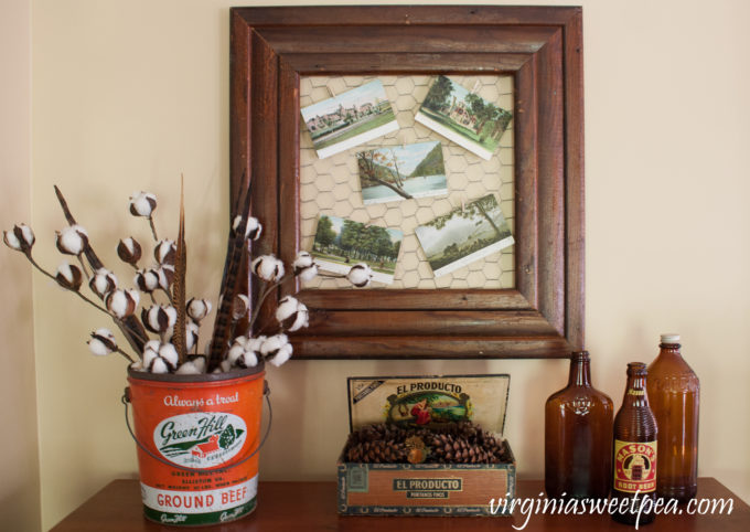 Vintage Fall in the Family Room - Fall vignette featuring vintage.