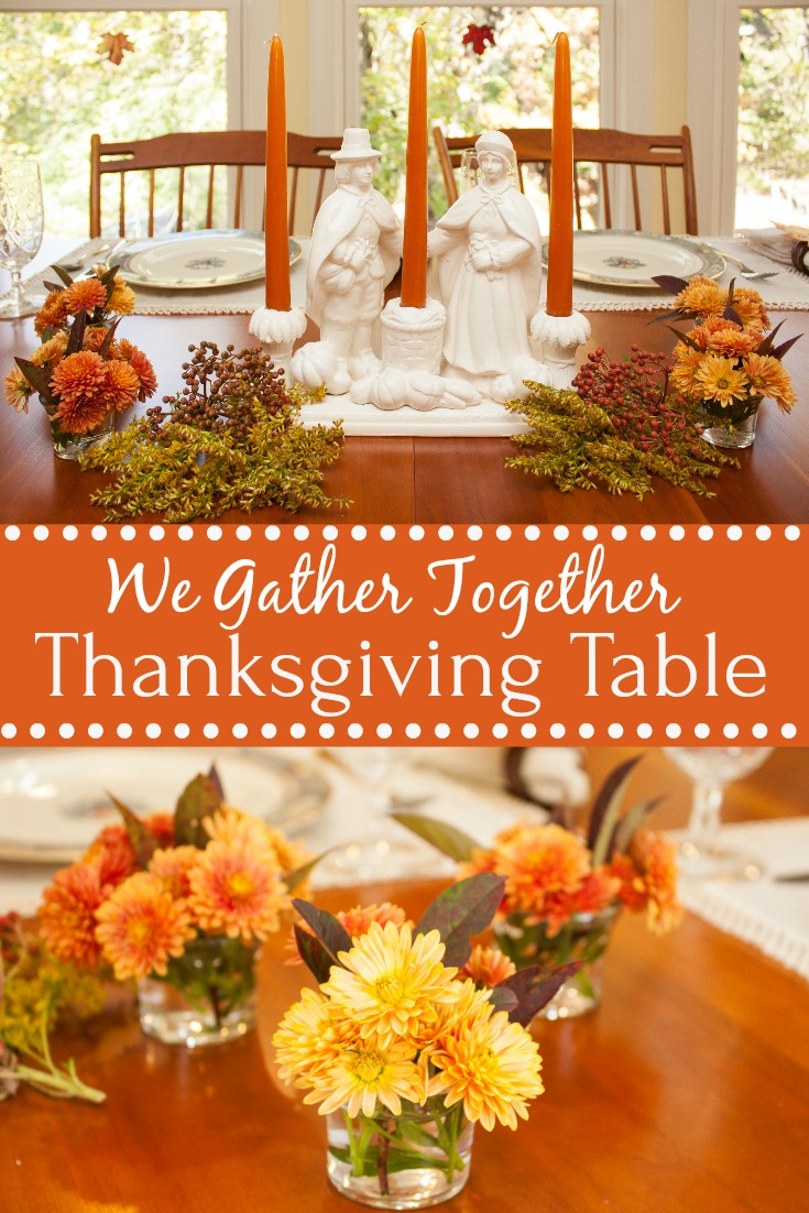 We Gather Together Thanksgiving Table - Get ideas for setting your Thanksgiving table from 20+ bloggers.  #thanksgiving #thanksgivingtablescape #tablescape via @spaula
