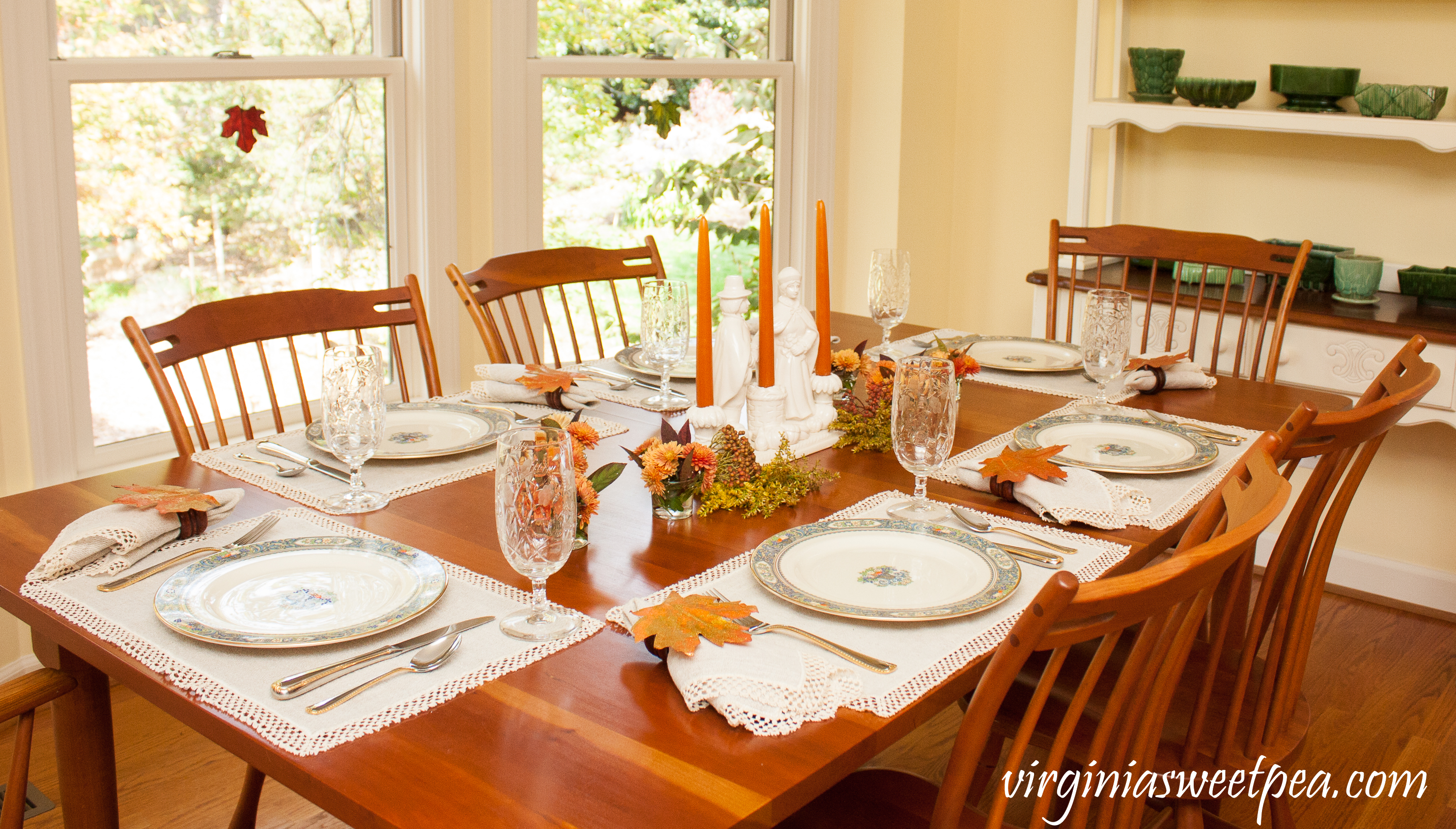 We Gather Together Thanksgiving Table - Get ideas for setting your table for Thanksgiving from 20+ bloggers. #thanksgivingdecor #thanksgiving #vintagepilgrims #thanksgivingtablescape