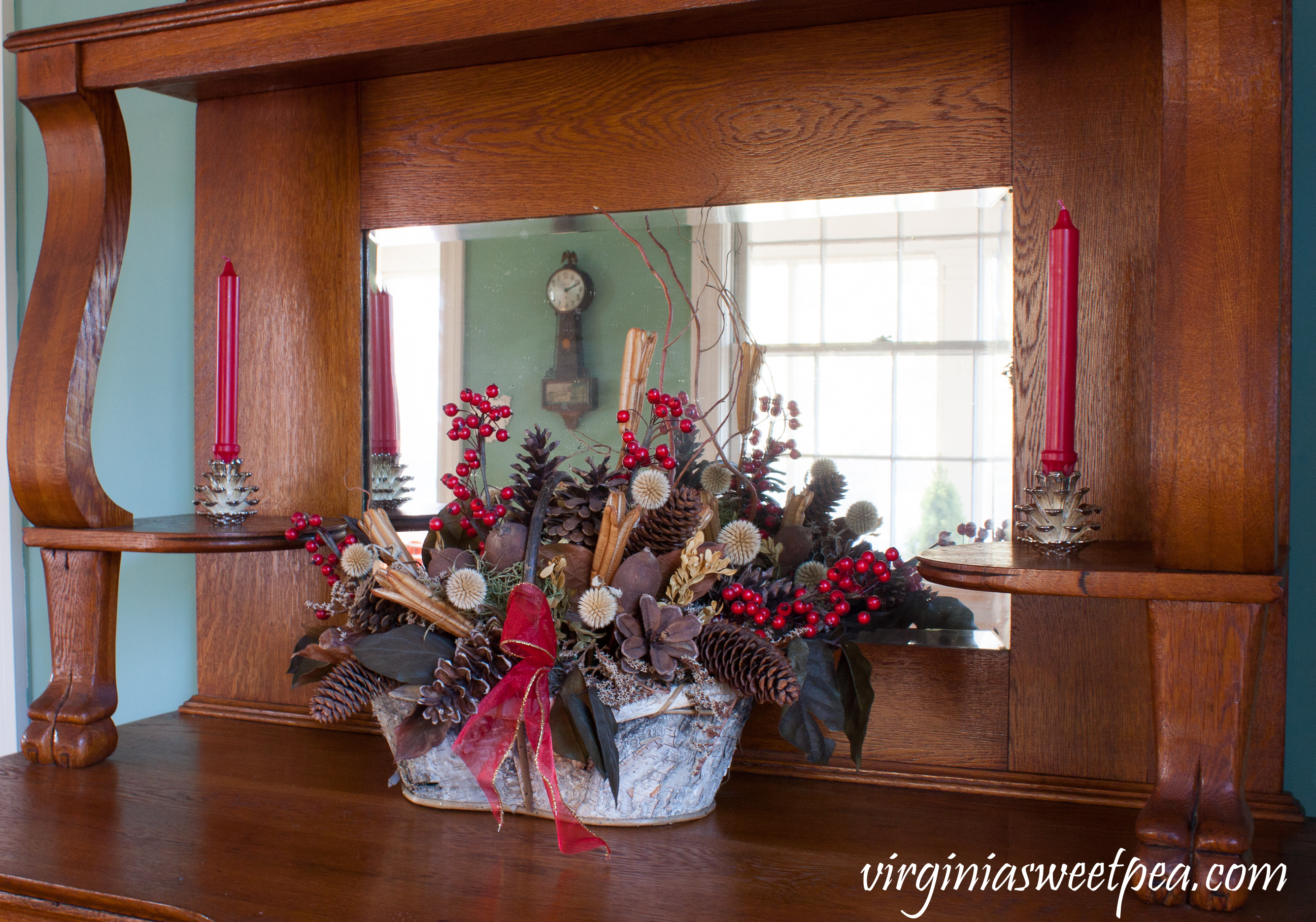 Christmas decor on an antique oak buffet #christmas #christmasdecorations