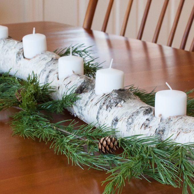 Birch log yule log