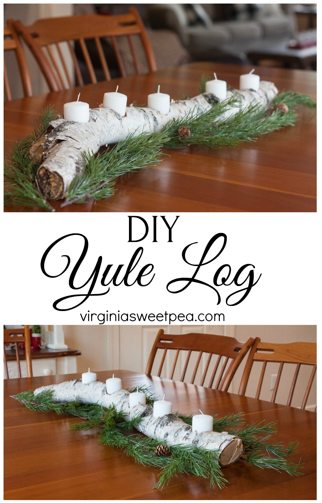 DIY Yule Log - Learn how to make a yule log to use for winter decor in your home by following this step-by-step tutorial. #diy #woodworking #diyproject #yulelog