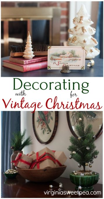 Get ideas for decorating for Christmas with vintage and antiques. #christmas #christmasdecorations #christmasdecor #vintage #vintagechristmasdecor