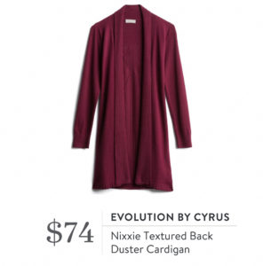 EVOLUTION BY CYRUS Nixxie Textured Back Duster Cardigan