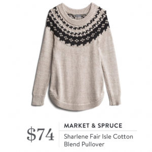 Market & Spruce Sharlene Fair Isle Cotton Blend Pullover
