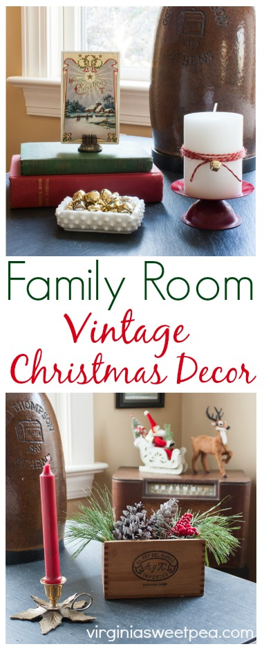 Family Room Vintage Christmas Decor - Get ideas for decorating for Christmas using vintage items. #vintage #vintagechristmasdecor #christmas via @spaula