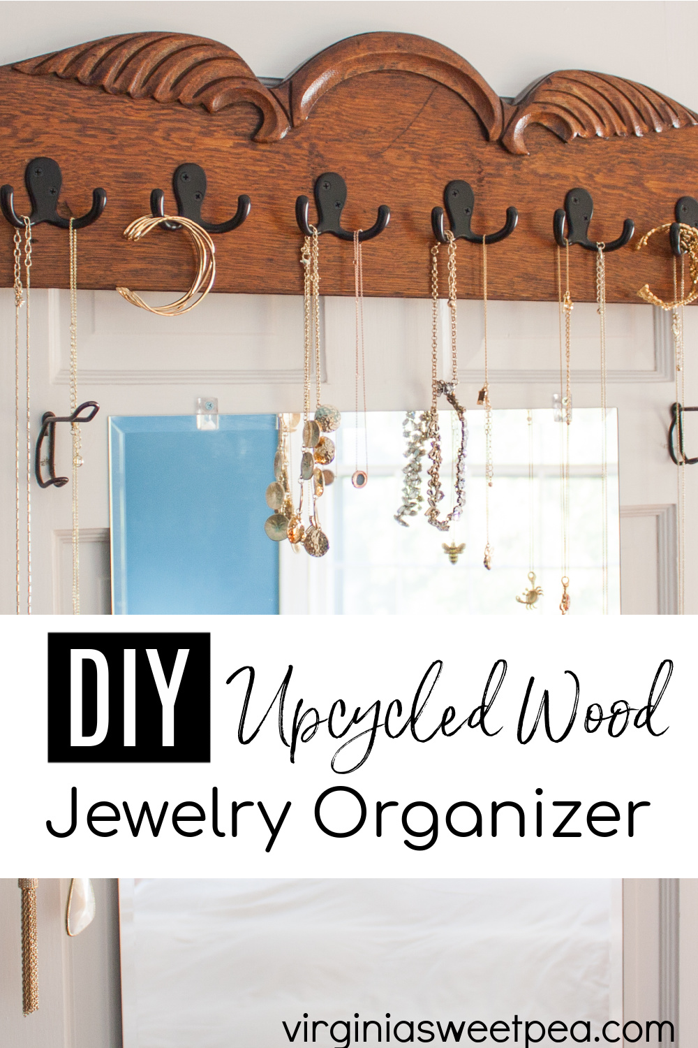 DIY Upcycled Wood Jewelry Organizer - Learn how to make a jewelry organizer to hang on a wall or closet door by following this step-by-step tutorial. This organizer keeps necklaces and bracelets organized and in sight. #diyjewelryorganizer #upcycledjewelryorganizer #woodworking #diyproject via @spaula