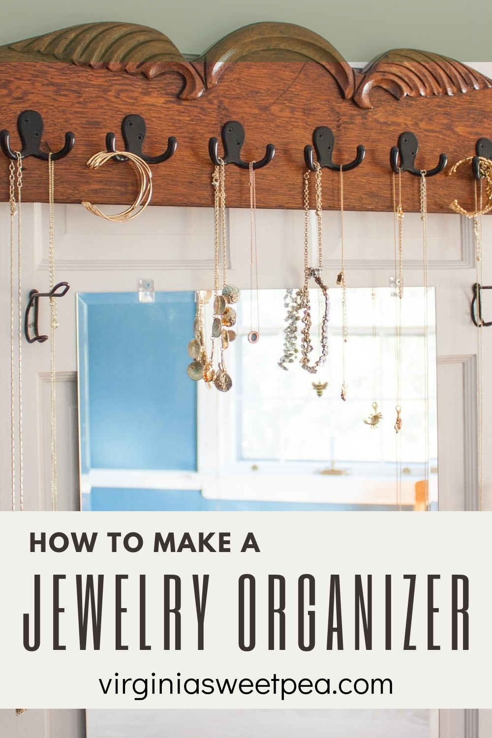 How to Make a Jewelry Organizer - Learn how to make a jewelry organizer to hang on a wall or closet door by following this step-by-step tutorial.  #jewelryorganizer #upcycleproject via @spaula