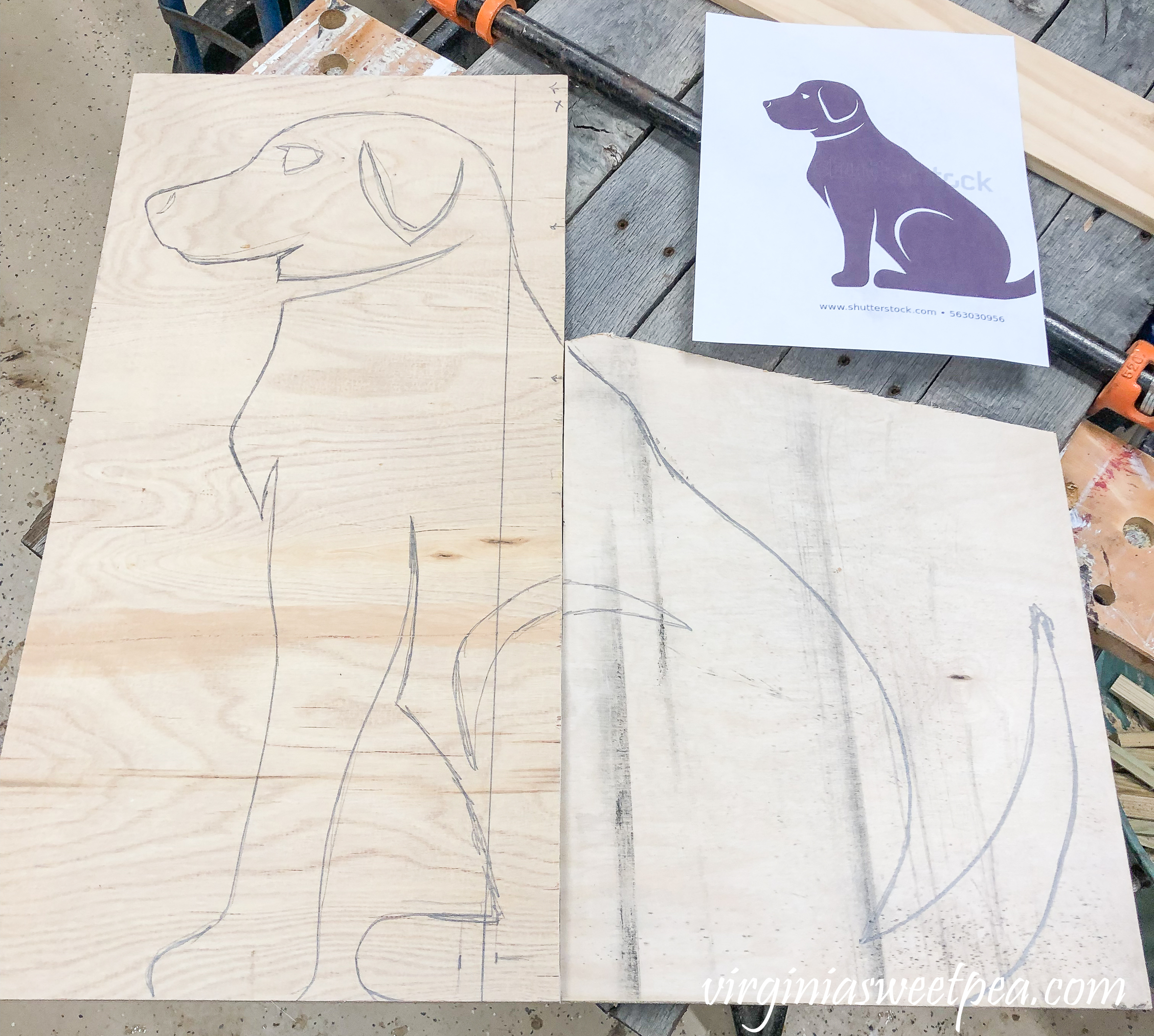 Instructions to make a decorative dog to hang or display using pallet wood.