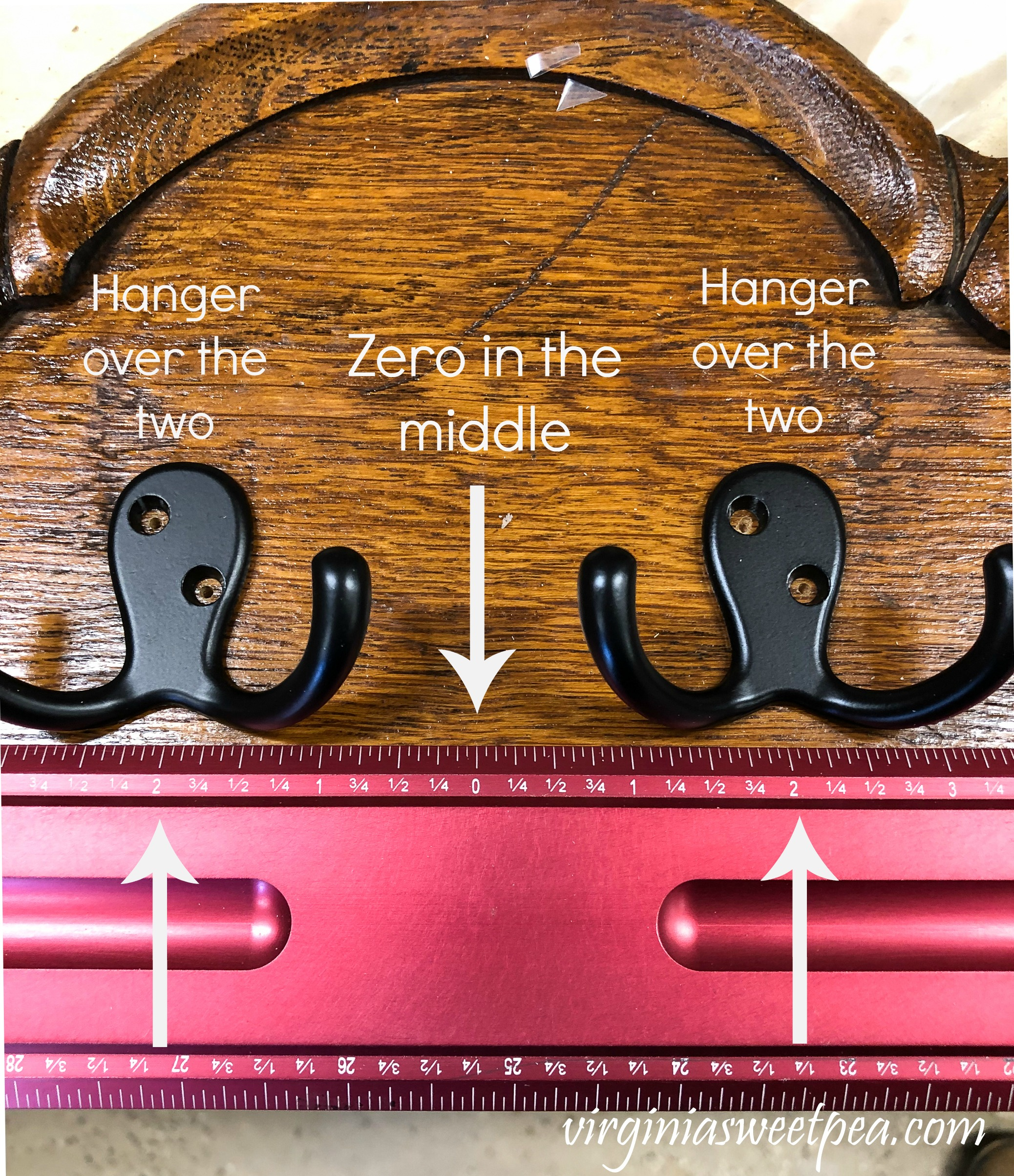 How to Use a Center Rule to Center Hooks on a DIY Jewelry Organizer