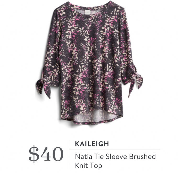 Kaileigh Natia Tie Sleeve Brushed Knit Top